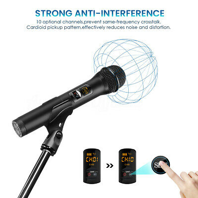 ELE Bluetooth Wireless Handheld UHF Microphone System + Receiver Rechargeable AU