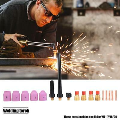18Pcs TIG Welding Torch Consumables Gas Lens Cup Collet Body Kit For WP 17 18 26