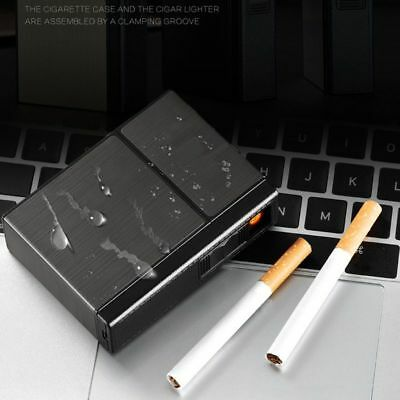 Cigarette Box USB Rechargeable Portable Lighters Windproof Holder Lighter Gifts