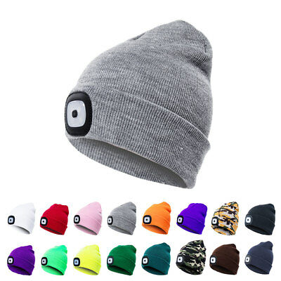 USB Rechargeable 4 LED Beanie Knit Unisex Hat Cap For Climbinf Camping Headlamp