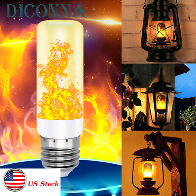 US New LED Flame Effect Fire Light Bulb E27 Simulated Nature Flicking Decor Lamp