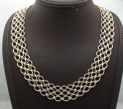 Technibond Graduated Triple Oval Chain Necklace 14K Yellow Gold Clad Silver