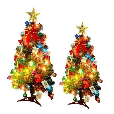 Tabletop Artificial Small Mini Christmas Tree With LED Lights & Ornaments Decor