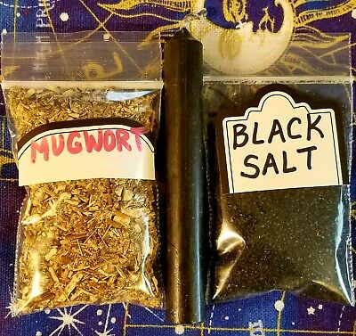 Black Salt +Mugwort herb wicca witch spell banishing witch's voodo
