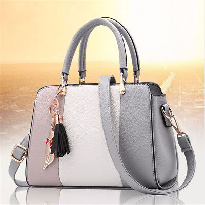 Fashion Women PU Leather Handbag Shoulder Bag Casual Tote with Tassels Bags