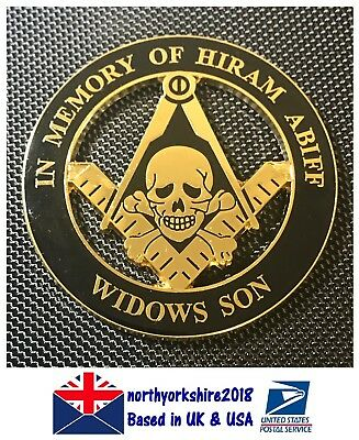 Freemasonry Masonic Master Widows Son Auto Car Emblem Decal Lodge Enamel Badge