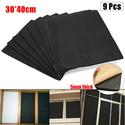 9Pcs Auto Car Sound Deadener Heat Material Insulation Self Adhesive Foam Sheet
