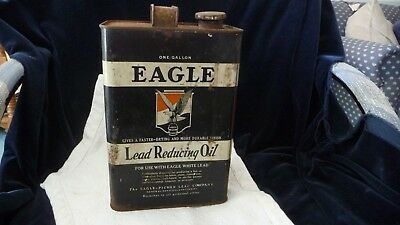 #625 vtg EAGEL  OIL TIN One Gallon Lead Reducing Oil One Gallon Can AS IS