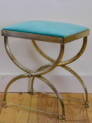 Vintage French footstool with aqua upholstery