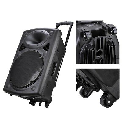 Portable Active PA Speaker with Mic Remote Woofer 15'' Bluetooth USB 44x38x68cm