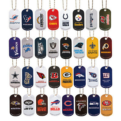 2 Pack Nfl Logo Dog Tags With 4 Inch Key Chain Choose Your Team