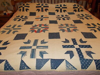 """Antique 1889 Star Crafted Handmade Quilted Old Material Quilt 76"""" x 66"""""""