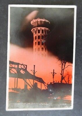 RP London England Crystal Palace Fire 1936 Hand Colored Postcard