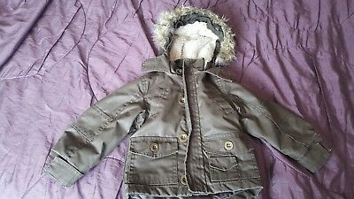 Next Baby Boys Olive Green Parka Coat 12-18 Months
