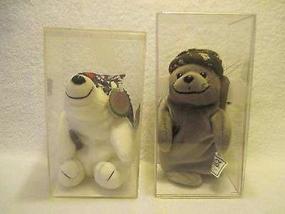 Lot of 2 Coca Cola Christmas Bean Bag Plush Animals in Cases Bear and Seal