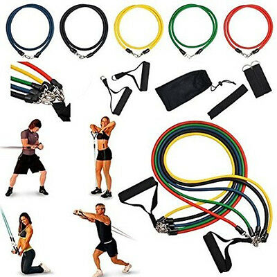 11 pcs Latex Elastic Resistance Band Pilates Tube Pull Rope Gym Yoga Fitness Yog