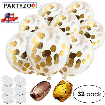 PARTYZOO Gold Confetti Balloons (32 Piece Set) Golden Ribbon Rolls, Flower Clips