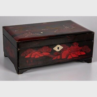 Vintage Japanese Lacquered Wood Musical Jewelry Box by Mele & Co