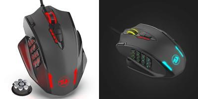 Redragon Impact RGB LED MMO Mouse With Side Buttons Laser Wired Gaming Mouse ...