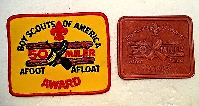 Two Bsa 50 Miler Award Afoot Afloat Leather & Cloth Patch Badge Un-Used