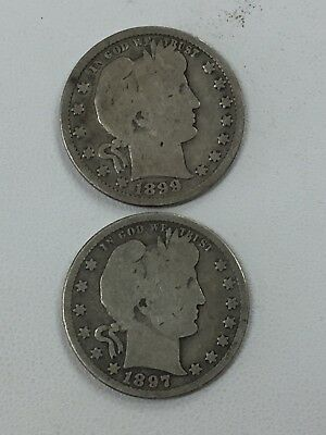 1899 P & 1897 P Barber Silver Quarter Coin Lot Of 2