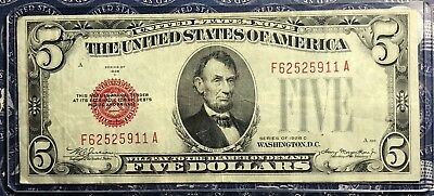 1928-C $5 Dollar Bill Old Us Paper Money Currency Red Seal Collector Note 5911A