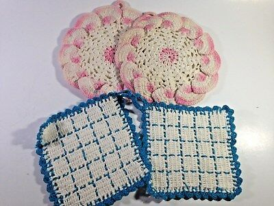 Vintage pot holders crocheted lot of 4 - NICE!