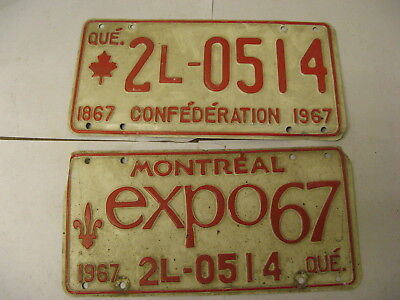 1967 67 Quebec PQ Montreal Canada License Plate Expo 2L-0514 Pair