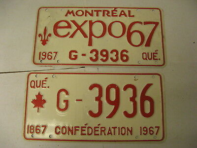 1967 67 Quebec PQ Montreal Canada License Plate Expo G-3936 Pair