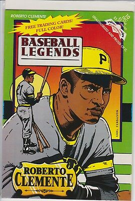 Roberto Clemente Baseball Legends  Comic Book (1992) With Tradng Cards Rare!!!