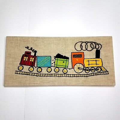 Trains Caboose Completed Finished Long Stitch Crewel Embroidery On Linen