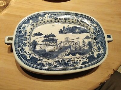 Oriental Porcelain Blue And White Stay Warm Plate Chinese Japanese