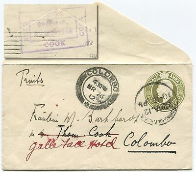 INDIA to Ceylon Forwarded by Thomas Cook  Small  envelope Colombo March 26, 1912