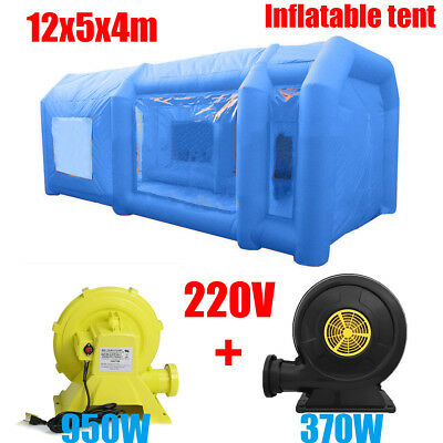 39Ft 12M Portable Giant Oxford Cloth Inflatable Car Spray Booth Paint Tent Blue