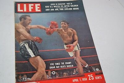 Vintage April 7, 1958 Life Magazine - Sugar Ray Robinson Fight on Cover