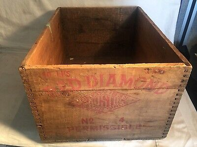 Vintage RED DIAMOND HIGH EXPLOSIVES wood dovetail box ICC-14 AUSTIN POWDER