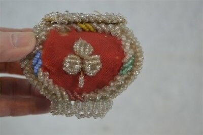 antique box Native American Iroquois beaded whimsy sewing pocket purse  1890