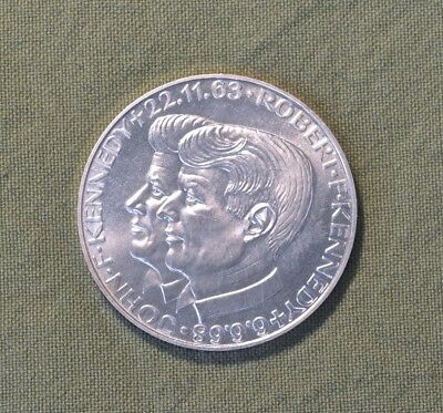 Medallion Commemorating Deaths of JFK & Brother Bobby, 24.75 Grams Pure Silver