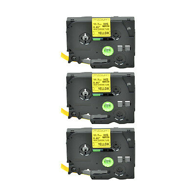 """3PK Heat Shrink Cartridge Label Black on Yellow HSe631 For Brother P-Touch 1/2"""""""
