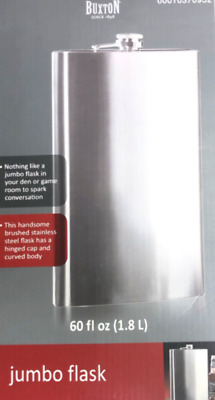 Buxton Brushed Stainless Steel Party Bar Beverage Jumbo Flask 60 Fl Oz (1.8 L)