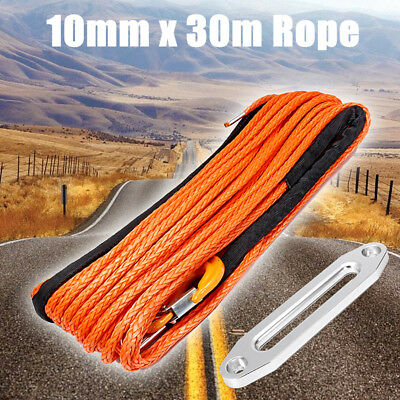 100ft 10mm Synthetic Winch Rope Hawse Hook Dyneema Road Self Recovery Rigging
