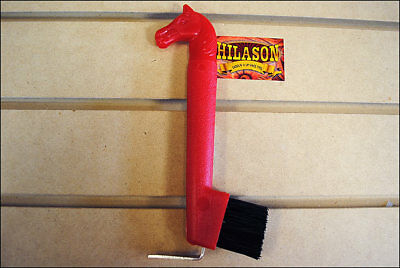 Hilason Show Horse Head Hoof Pick Brush With Red Handle