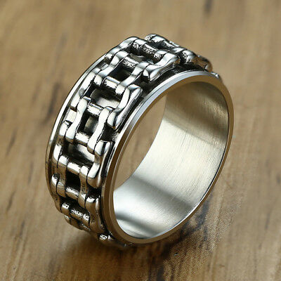 Men Wedding Ring Spinning Bicycle Link Chain Band Stainless Steel Biker Jewelry