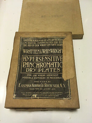 Wratten and Wainwright  Black and white glass negatives box