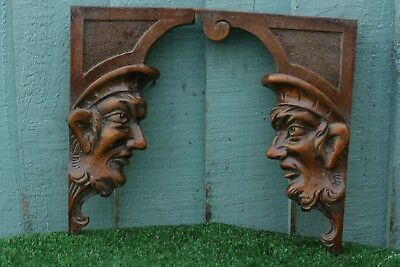 SUPERB 19thC GOTHIC WOODEN MAHOGANY CORBELS WITH INTRICATE DEVILISH HEADS c1880s