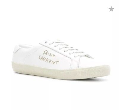 29d7c27ab0a7 WOMEN YSL SAINT LAURENT COURT CLASSIC LOGO EMBROIDERED LEATHER SNEAKERS Sz  36.5