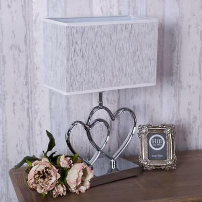 Silver Heart Lamp Glitter  Modern Table Side Lamp Metal  Living Hallway Bedroom