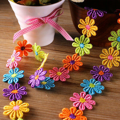 1Yd DIY Embroidery Applique Headband Multi-Coloured Lace Trim Dress Craft Ribbon