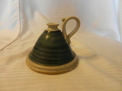 Vintage Hand Made Pottery Oil Lamp With Handle Blue & Tan Color