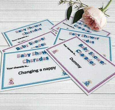 Charades Baby Shower Party Game - Pink & Blue Neutral Boy Girl 32 Cards Players